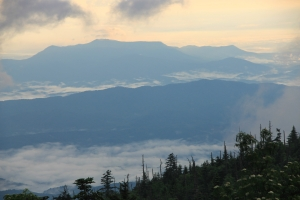 The view from the LeConte Lodge Office on the morning of June 29, 2013...English Mountain, surrounded by patches of ground fog.